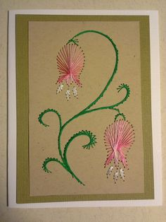 Quilling Paper Craft, Quilling Cards, Embroidery Cards, Embroidery Patterns, Creative Arts And Crafts, Sewing Cards, String Art Patterns, Card Patterns, Embroidery Techniques