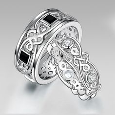 925 Sterling Silver Cletic Couple Rings for Men
