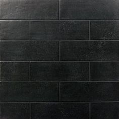 Improve the beauty of your indoor space with the selection of this attractive Ivy Hill Tile Piston Camp Black Rock Matte Ceramic Subway Wall Tile. Black Splashback, Splashback Tiles, Black Backsplash, Kitchen Backsplash, Kitchen Floor, Black Subway Tiles, Ceramic Subway Tile, Black Tiles, Subway Tile Fireplace