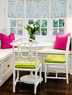 Banquette chair ideas. Banquette nook with chairs. L-shape banquette. Built-in banquette, L shaped, faces a round marble top dining table along with Bungalow 5 Chloe Side Chairs placed under bay window.