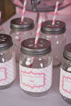 Cute mason jar decorations for a princess themed baby shower.