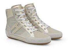 Hogan women's platinum leather high sneakers shoes - Italian Boutique €229