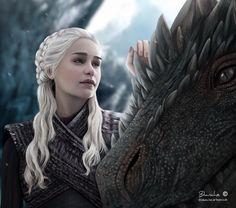 Daenerys Targaryen digital art (Game of Thrones), Blanche Art Drogon Game Of Thrones, Arte Game Of Thrones, Game Of Thrones Dragons, Daenerys Targaryen Dress, Game Of Throne Daenerys, Khaleesi, Game Of Thones, Fandom Games, Memes