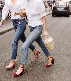White blouses and Mary-Janes.