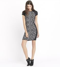 Look super gorgeous in this sweater dress with an edgy jacquard knit, tight bodycon fit and midi hem