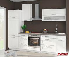 Eleganter Küchenleerblock Mit Praktischem Glashängeschrank. Ca. 280 Cm  Breit, Ohne E Geräte