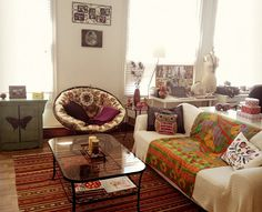 BOHO MARKET: Boho Chic Decor Ideas: Living Rooms Need New Papasan Cushion