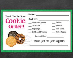 Printable Girl Scout Cookie Order Card 5-6 price by AboutScouts