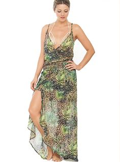 This magical jungle free maxi dress represents the triumph of imagination! Wear it this summer time and travel to fashion wonderland. FEATURES Comfortable fit Flowy design Long length V neckline SIZE Small, Medium, Large Swimsuits 2016, Green Swimsuit, Dresses 2016, Beach Dresses, Summer Time, Imagination, Wonderland, Wrap Dress, Neckline