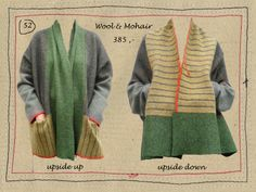 Ollie Zwitserlood - Belgium designer of sweaters intended to be able to be worn two ways -- knitting inspiration. Also, note to self, great colors here.