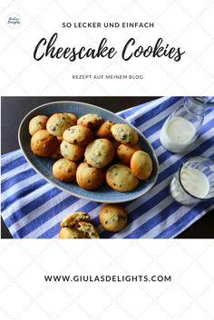 Cheescake Cookies mit Chocolate Chips Für die Cheescake Cookies braucht es nur wenige Zutaten. Es ist somit ein Leichtes, diese Kekse auch spontan zuzubereiten. Das Rezept findet ihr auf meinem Blog Potatoes, Vegetables, Blog, Few Ingredients, Cookies, Food Cakes, Food Food, Simple, Recipes
