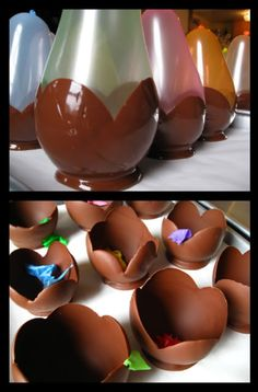 Make chocolate ice cream bowls with melted chocolate and balloons.