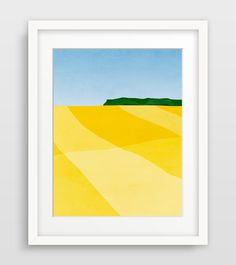 Modern abstract landscape of canola fields in bright yellow and blue. Perfect as living room or office wall decor. PRINTS • 1/4 inch white border included in size • Printed on 100% cotton heavyweight