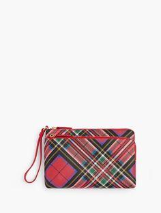 Holiday Plaid Clutch Wristlets Womens Xmas Houndstooth Bag