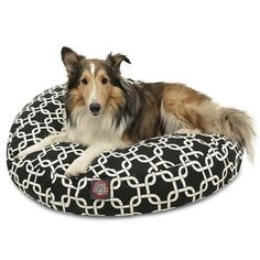 Majestic Pet Products Black Links Medium Round Pet Bed