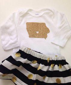 Gold Glitter Iowa Long Sleeve Shirt  OR Onesie   by GiaRoseDesigns, $16.00