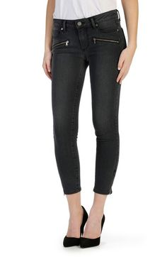 PAIGE 'Transcend - Jane' Zip Detail Crop Skinny Jeans (Smoke Grey) available at #Nordstrom