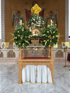 Kovuklian (tomb of Christ) decorated for Holy Friday 2014 - St. Paul's Greek Orthodox Church, Irvine