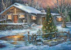 Log Cabin Christmas Winter Scene | Found on scontent-a-lga.xx.fbcdn.net