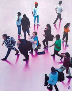 Available for sale, Time Flies II, a fun painting of people in a hurry by fine artist Alex Marmarellis, acrylic on canvas size 61 x 76 cm. St Francis, Anime Scenery, Online Art Gallery, Canvas Size, Watercolor Paintings, Glow, African, Colour, Dark