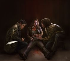 """Dean, Jo and Sam. Beautiful art of such a sad scene. But the word """"sad"""" does not do this scene justice! I cried like a baby, a big, blubbering baby..."""