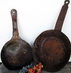 Old Rusty Fry Pans 2 Two Scrap Metal Industrial by HighDesertRust