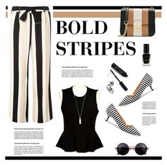 """""""#stripedpants"""" by hellodollface ❤ liked on Polyvore featuring Dorothy Perkins, MICHAEL Michael Kors, Bobbi Brown Cosmetics, Sole Society, French Connection, Barry M, Marc Jacobs and stripedpants"""