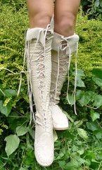 Antique Off White Croco Print Knee High Leather Boots  Would be great for Fairy Outfit at Renn Faire