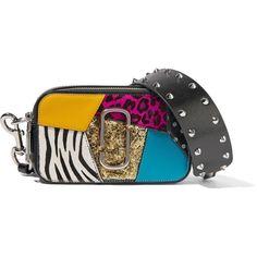 Marc Jacobs Snapshot Punk calf hair-trimmed embellished... (1,695 ILS) via Polyvore featuring bags, handbags, shoulder bags, black, studded purse, zip shoulder bag, shoulder strap bags, guitar strap handbags and marc jacobs handbags
