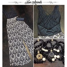 High waisted Damask Palazzo Pants // Open back body suit // chanel style beaded bracelets // Miami boutique // style // fashion // fall fashion // girls will be girls // shop gwbg // ootd // #girlswillbegirls