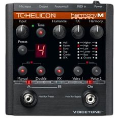 TC-Helicon VoiceTone Harmony-M Vocal Effects Processors by TC-Helicon. $244.77. By following natural guitar or MIDI-keyboard playing, this new pedal enables singing musicians to add backup harmony singers to their performances without any tedious programming. Live engineer effects are also included, which automatically apply Adaptive EQ, compression and de-essing algorithms so the performer can focus on playing while a fully-produced vocal sound is produced, with dedicated dou...