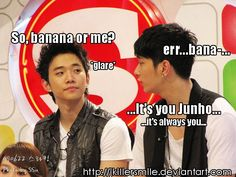 Kekeke...Wooyoung and Chansung #2PM #kpop    ... 준호, tag this is 이준호. 찬성 even says Junho, it's always.. Anyway, there's are lots of really good 찬성 macros. I wish people would make really good 준호 ones too, hard to find hmm.. Perhaps the Emperor is too cool and serious~?