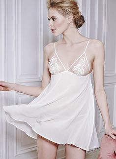 Fleur of England silk georgette babydoll with guipure embroidered tulle cups