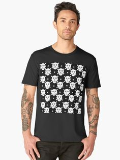 Black and white #Halloween skulls pattern by Silvia Ganora • Also buy this artwork on #apparel, #stickers, phone #cases, and more. #tee #tshirt #redbubble
