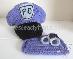 CROCHET PATTERN Newborn Police Hat & Diaper Cover by TheSteadyHand, $5.00