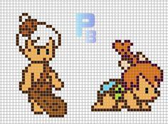 Peebles and Bamm-Bamm The Flintstones perler pattern - Patrones Beads / Plantillas para Hama