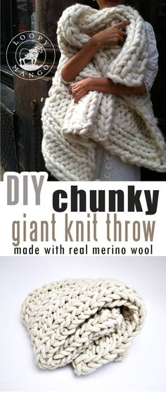 How to make DIY chunky knit blanket (arm knit or finger knit) - Craft-Mart Are you interested in learning how to arm-knit blanket that is so super-chunky and super-cozy that will fill up your home with a really warm hygge fee. Finger Knitting, Arm Knitting, Knitting Needles, Knitting Patterns, Knitting Ideas, Stitch Patterns, Yarn Projects, Knitting Projects, Amigurumi