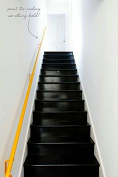 Neon railing, glossy black steps - and idea for the transition steps to the laundry room - coco+kelley