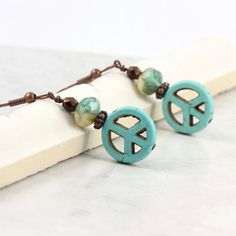 Peace Sign Earrings Turquoise Blue Copper Rustic Fashion Boho