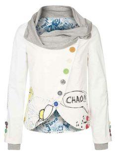Desigual Melis Coat 100% Authentic Desigual Melis Coat Model Number 41E2982 Desigual Melis Coat, Desigual Melis jacket. White print, boat collar, button fastening. http://www.hubalhaya.co.uk/#!coats--jackets/cc07