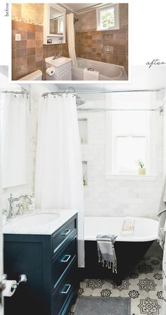 Before and After! Interior Designer and blogger Jacquelyn Clark, Lark+Linen, did an amazing job transforming this outdated bathroom into a stunning, open space.  Featured on the floor is our Chapman Tiles from our in-stock line, Artisan Stone Tile.  Everything about this bathroom from the white marble to the clawfoot tub is spectacular!  Featured on Style Me Pretty Living
