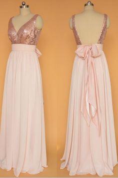 Rose Gold Sequin Pink Chiffon Bridesmaid Dresses,Off the Shoulder V Neck Bridesmaid Dresses ,Backless Bridesmaid Dresses,A Line Open Back Bridesmaid Gowns,Back Bow Prom Dresses,Prom Gown