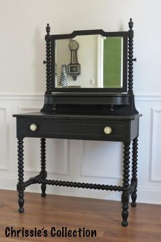Chrissie's Collection - Custom Painted Furniture. Vanity in General Finishes Lamp Black, finishes with General Finishes High Performance Poly in Flat