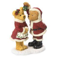 Boyds Bears Christams Bearstone Figurine (Santa & The Missus…Christmas Smooches) 4041872+