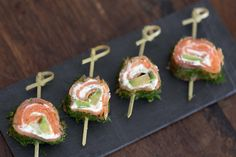 These roll-ups are a fun take on a salmon appetizer using the classic pairing of salmon, cream cheese, avocado and dill. A great recipe if you want to avoid bread!