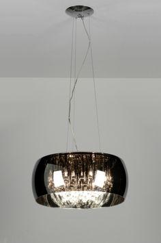 Hanglamp 87583: Design, Chroom, Glas, Kristal Grande, Chandelier, Ceiling Lights, Mood, Living Room, Lighting, Design, Home Decor, Elegant