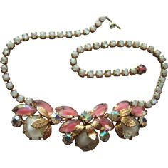 Juliana Vintage Necklace D&E Delizza & Elster Pink White Givre from loversofjewels on Ruby Lane
