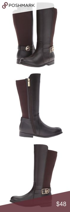 Michael Kors Emma Ryan Riding Boots Michael Kors Emma Ryan boots in brown faux leather with gold colored hardware. Low heel. Synthetic leather upper with gore back. Inside side zipper closure. Synthetic lining. MK logo and buckle. Synthetic outsole. Michael Kors Shoes Boots