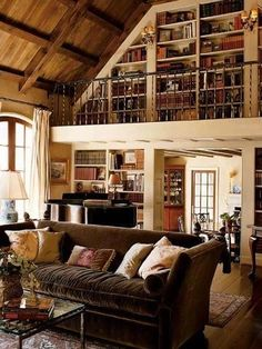 Alpine-Styled Library Room- a great use if unused space I wish I could have my upstairs wrap around this type of room so that each room could kind of have an atrium like balcony inside.
