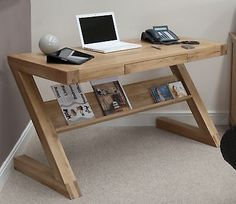 Z solid oak designer furniture laptop office PC computer desk
